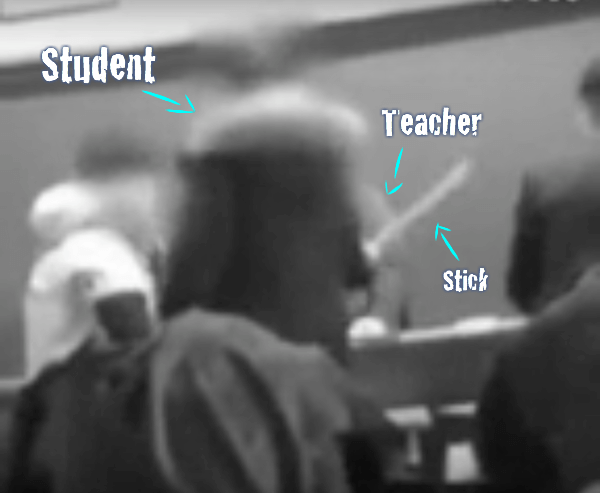 Student hits teacher with stick in Korea