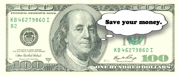 $100 bill says save your money