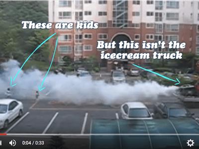 Mosquito truck Korea with kids