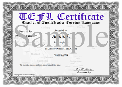 Resources eslinsider sample tefl certificate yadclub Choice Image