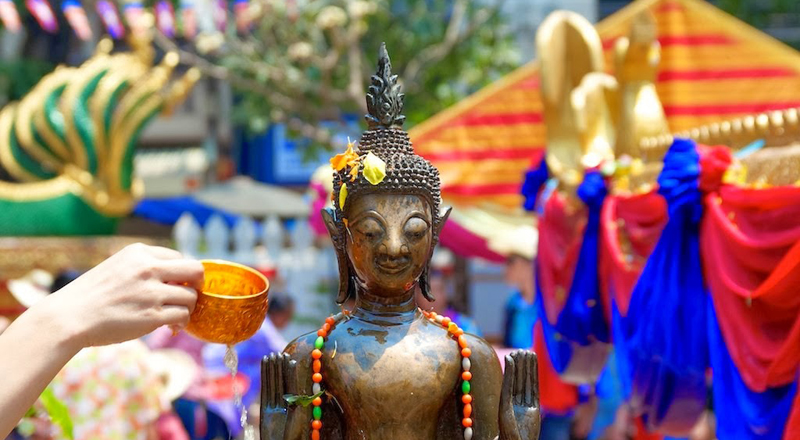 The New Year in Laos - known as Bun Pi Mai - celebrates in 3 days. Lao people clean their houses and Buddha statues by scented-water…..