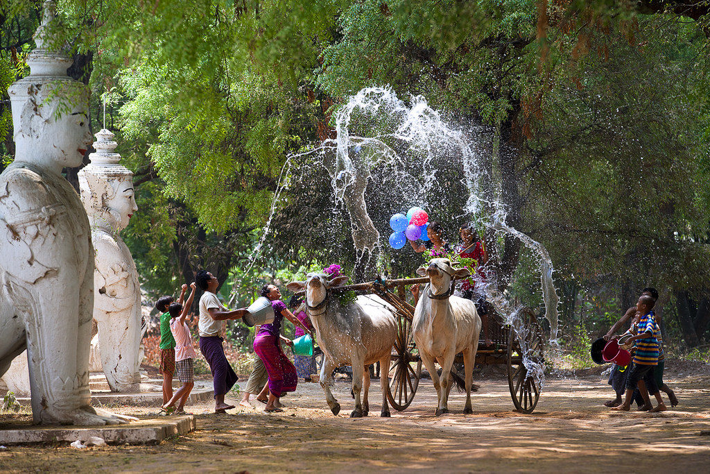 Water splashing is considered as the most interesting activity of the Thingyan festival. Burmese people believe water will wash away the impurity of the old year to greet a new year with a purity of mind and body