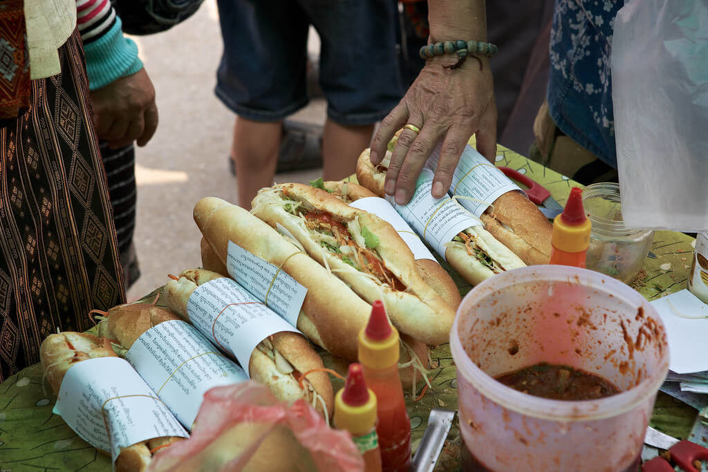 You can find Khao Ji Pate in every street of Luang Prabang but the stands on Kitsalad Road near Dara Market make the best sandwiches