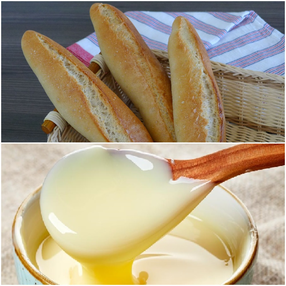 You cut the baguette open then pours half a can of condensed milk over it and enjoy
