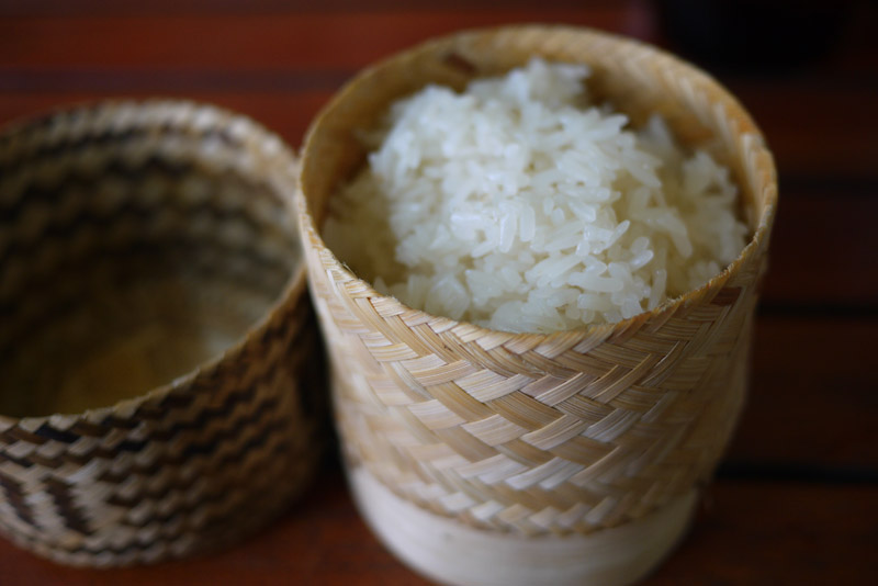 Khao Niew or Sticky rice is the staple food of Laos. You can see it in every meal in this country: breakfast, lunch, dinner, main course and snack