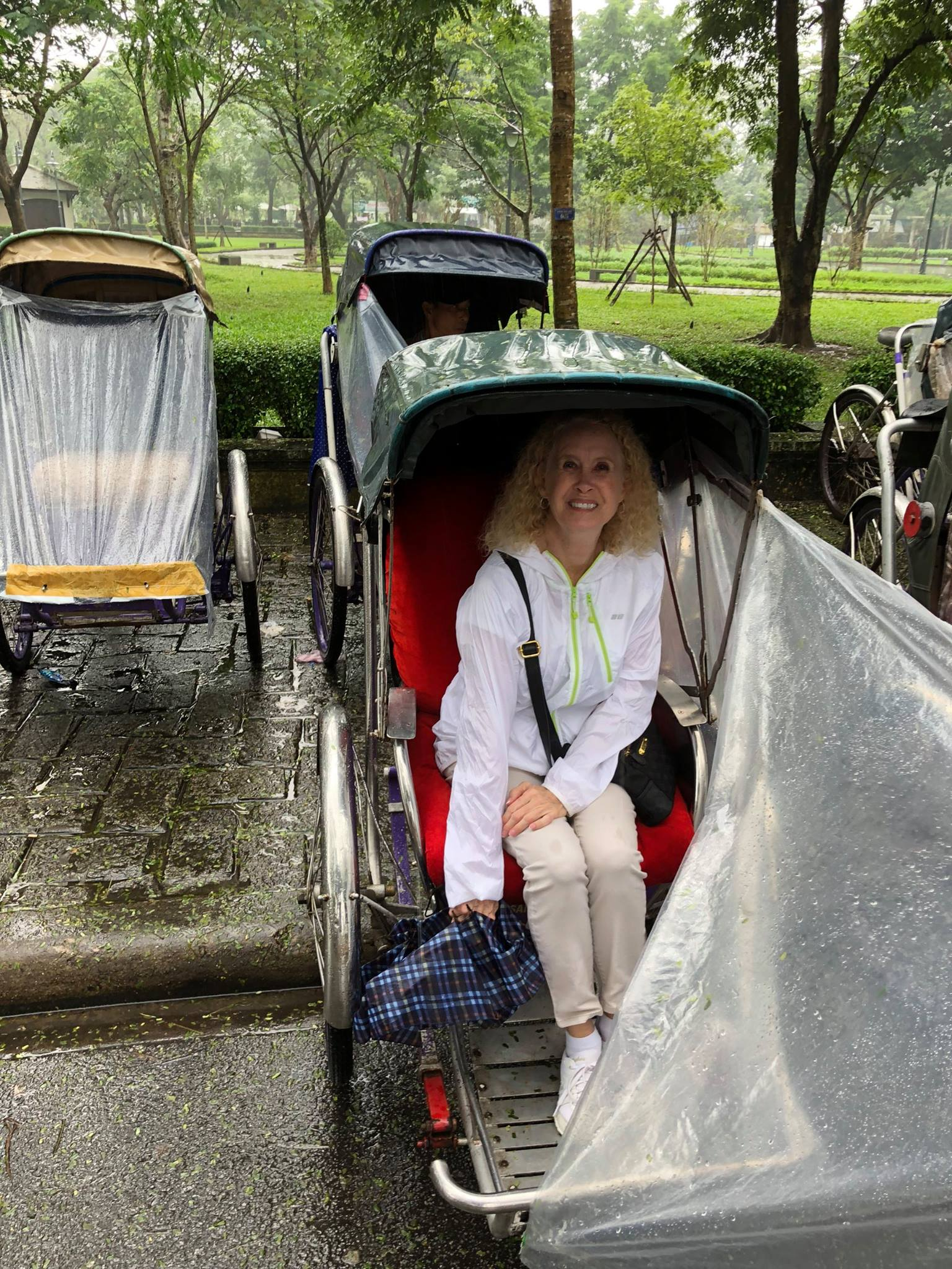Ms. Joyce explored Hue city on a rickshaw ('Cycle' is another name). Although it had small rain, her trip was fantastic