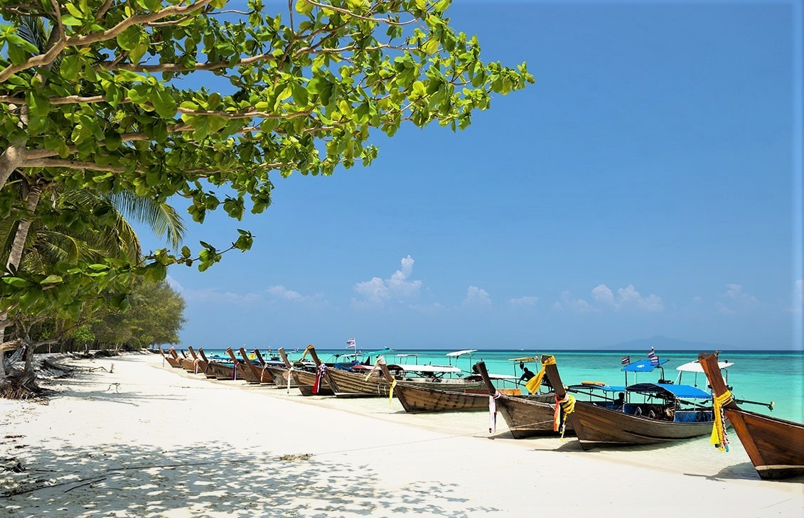 Bamboo Island with the white sandy beach