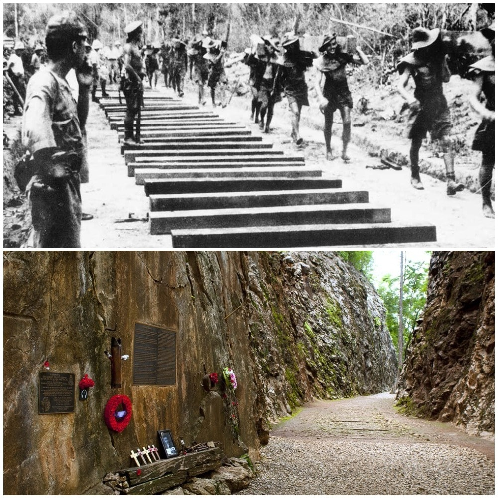 The Hellfire Pass is the name of a railway cutting on the former Burma Railway in Thailand. It was built with forced labor during the Second World War, mostly by Allied prisoners
