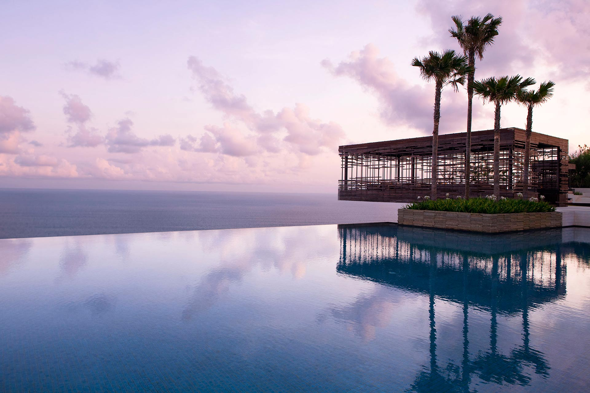 The Olympic-size infinity pool is a great spot to enjoy the sunset