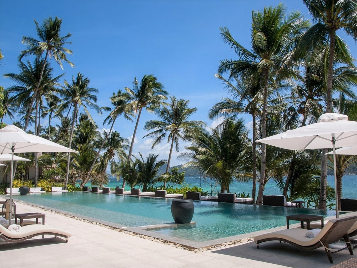 Its pool offers an amazing view of the pristine 750m white sand beach