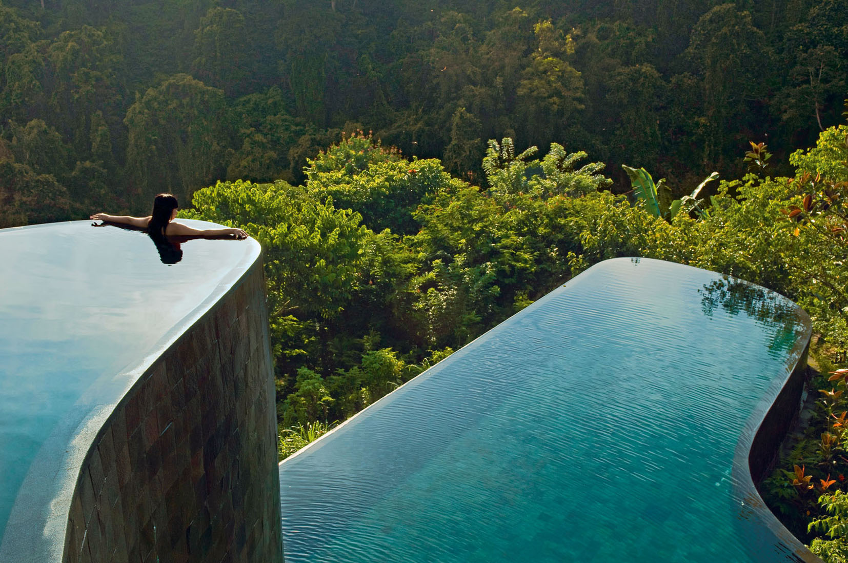 From the pool, you have an incredible view of the rainforest