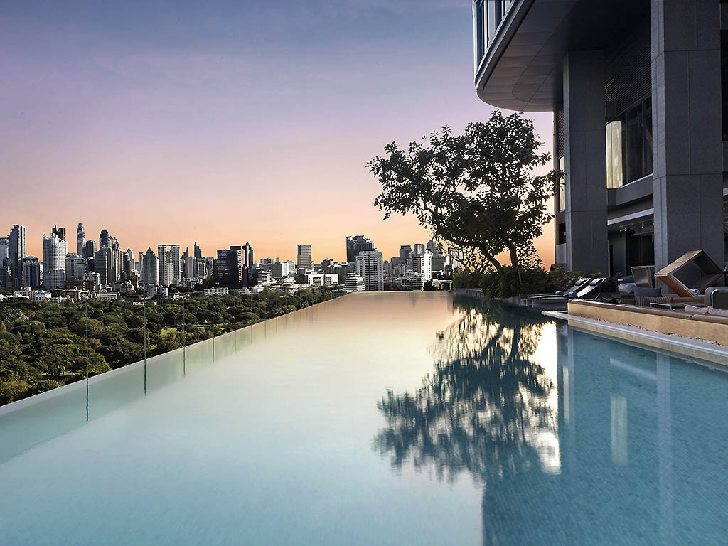 Its pool provides the most spectacular view of the city's skyline