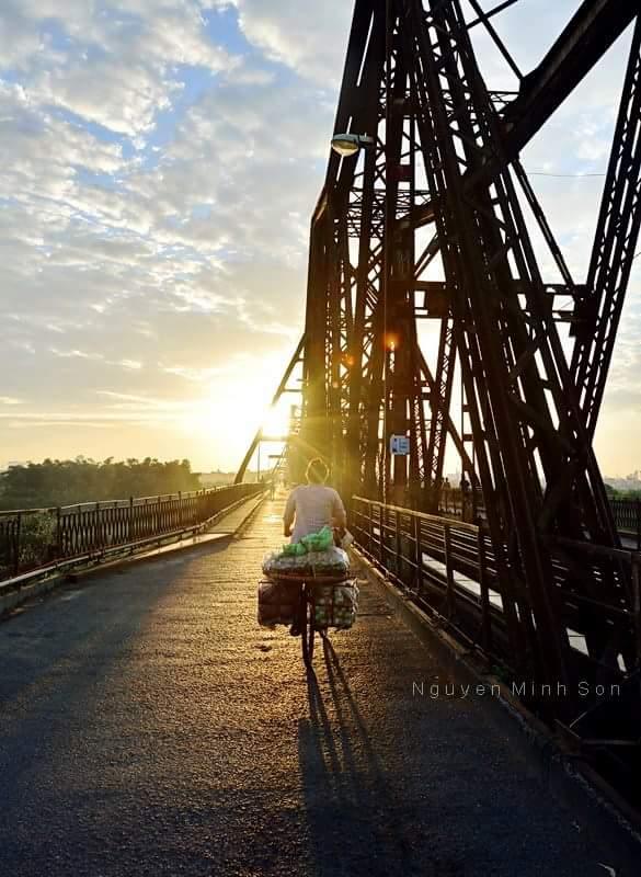 Sunrise on the Long Bien Bridge - an iconic historical site