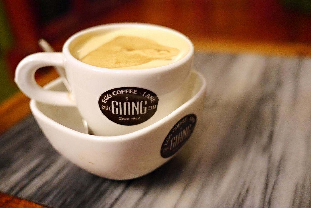A cup of egg coffee at Cafe Giang
