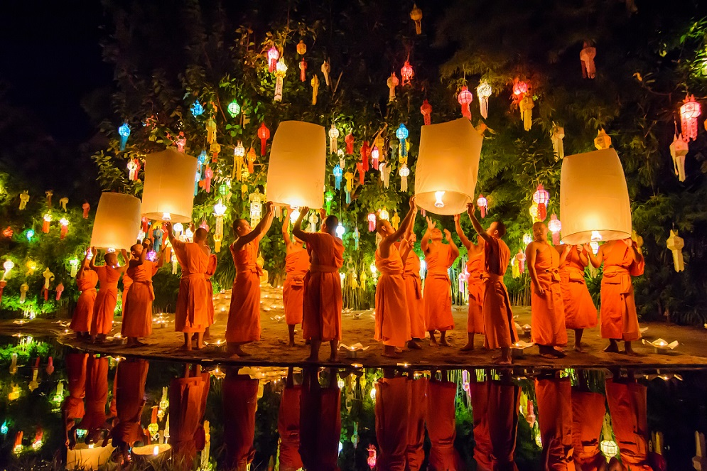 Monks are releasing paper lanterns in the festival