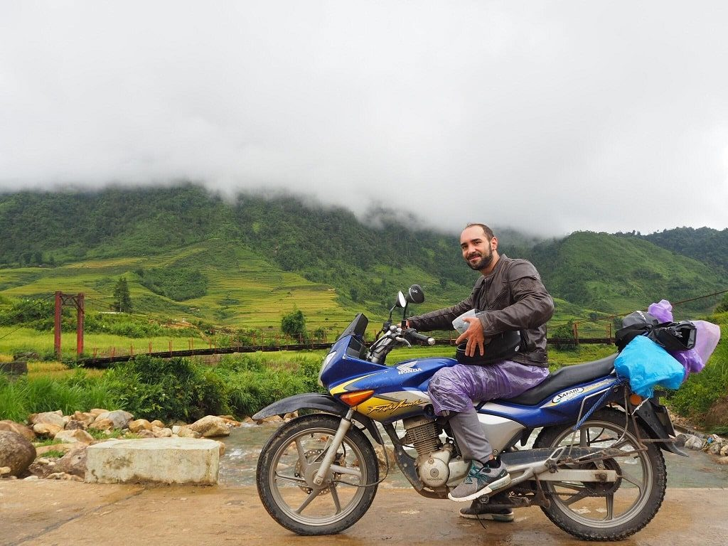 Alex, the new friend who comes from Laos office, and his motorbike