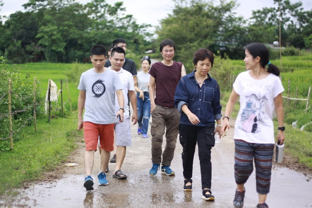 We were walking between rice fields on both sides