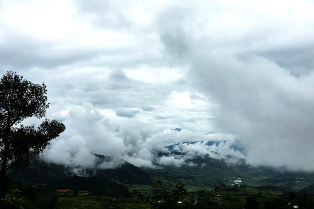 Thick clouds were covering the mountain in the early morning