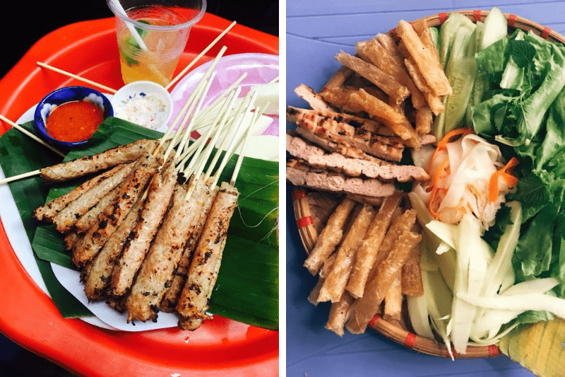 Nem Nuong in Hanoi (left) is often served in a different style from the Nem Nuong in Nha Trang (right)