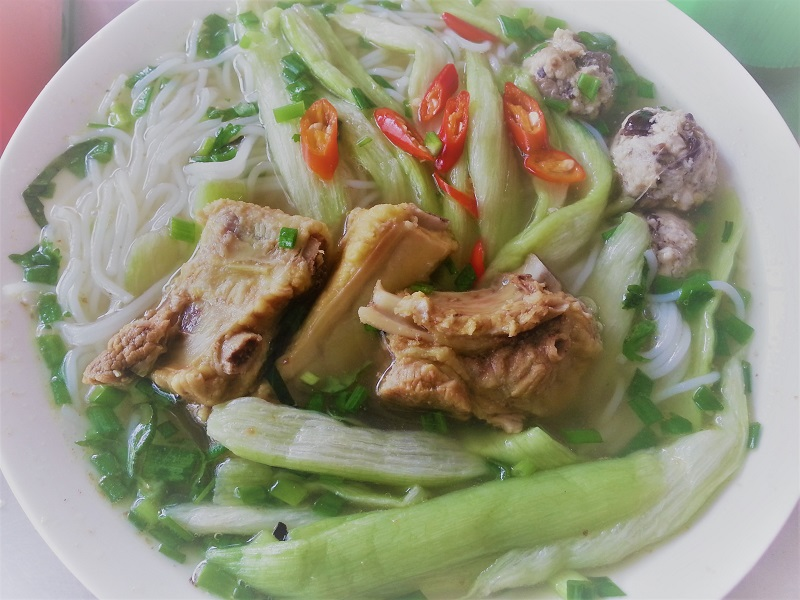 A Pork Noodle Soup featuring Taro Stems