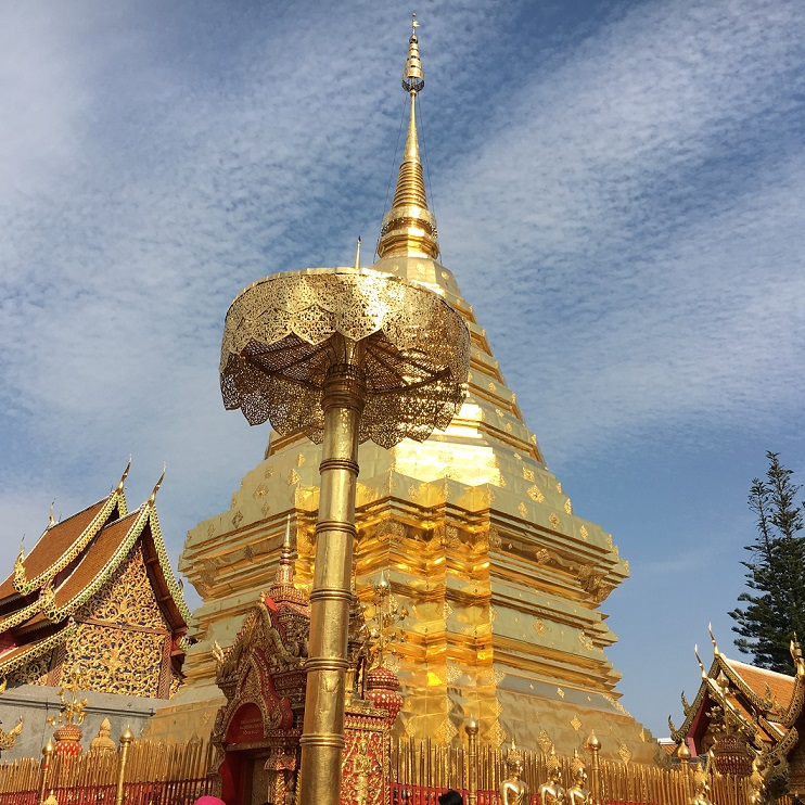 From the height of Doi Suthep, the temple gleams like a star