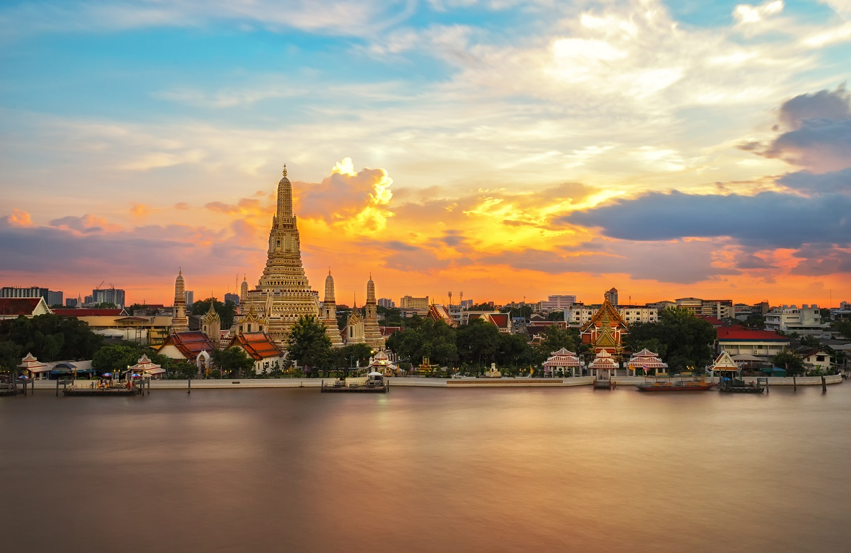 Wat Arun or Temple of Dawn situated gracefully by Bangkok's Chao Phraya River