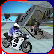 US Police Airplane: Kids Moto Transporter Games