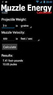 Muzzle Energy Calculator Screenshot