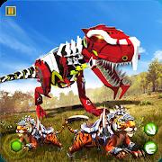 Robot Dinosaur vs Tiger Attack TRex Dinosaur Games