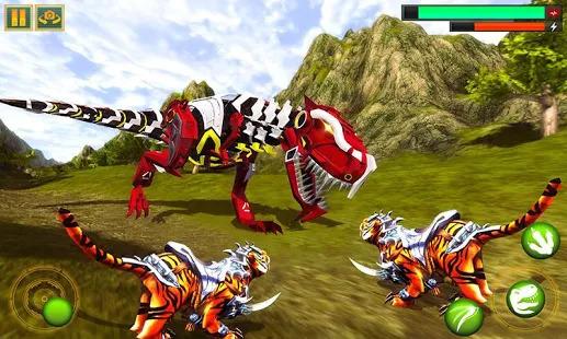 Robot Dinosaur vs Tiger Attack TRex Dinosaur Games Screenshot