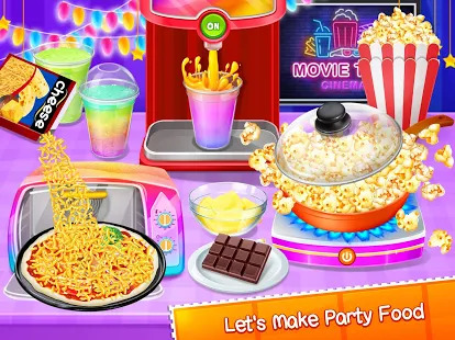 Movie Night Party  - Yummy Pizza, Soda & Popcorn Screenshot