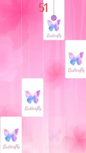 Flower Pink Piano Tiles - Girly Butterfly Songs Screenshot