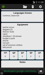 Fifth Edition Character Sheet Screenshot