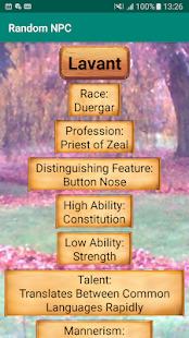 Random NPC Generator Screenshot