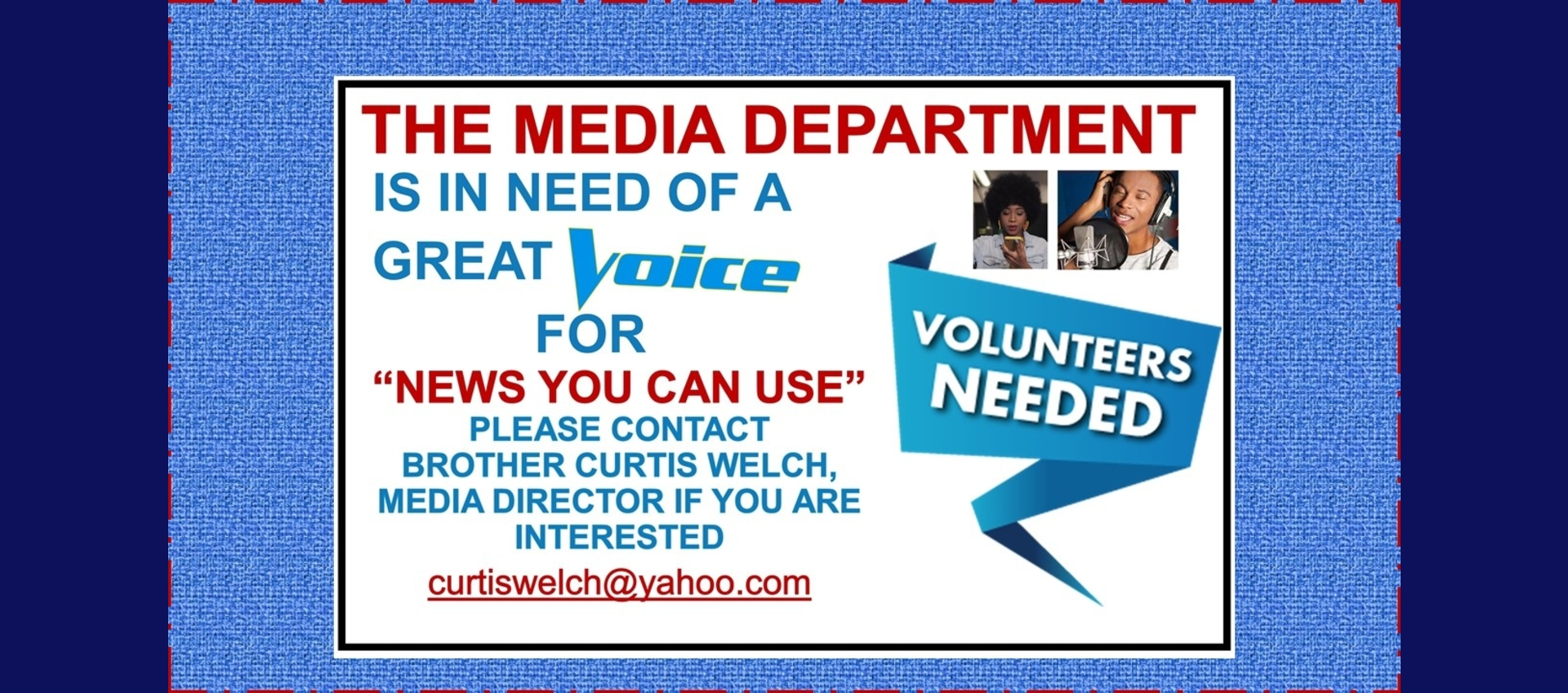 TBC Media Voice Volunteers Needed
