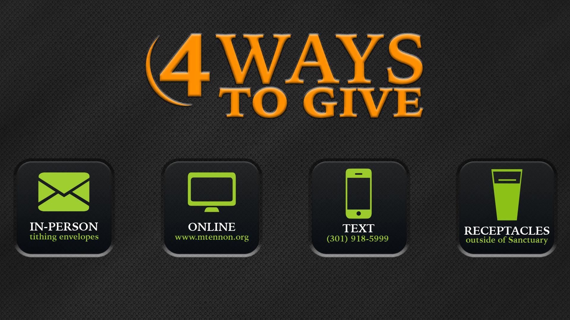Try God - 4 Ways to Give