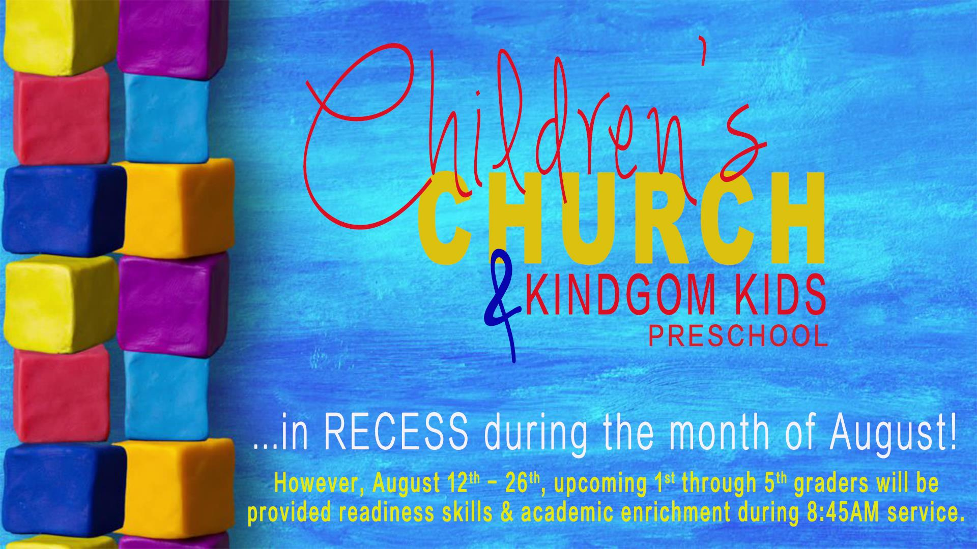 Children's Church and Preschool in Recess - School