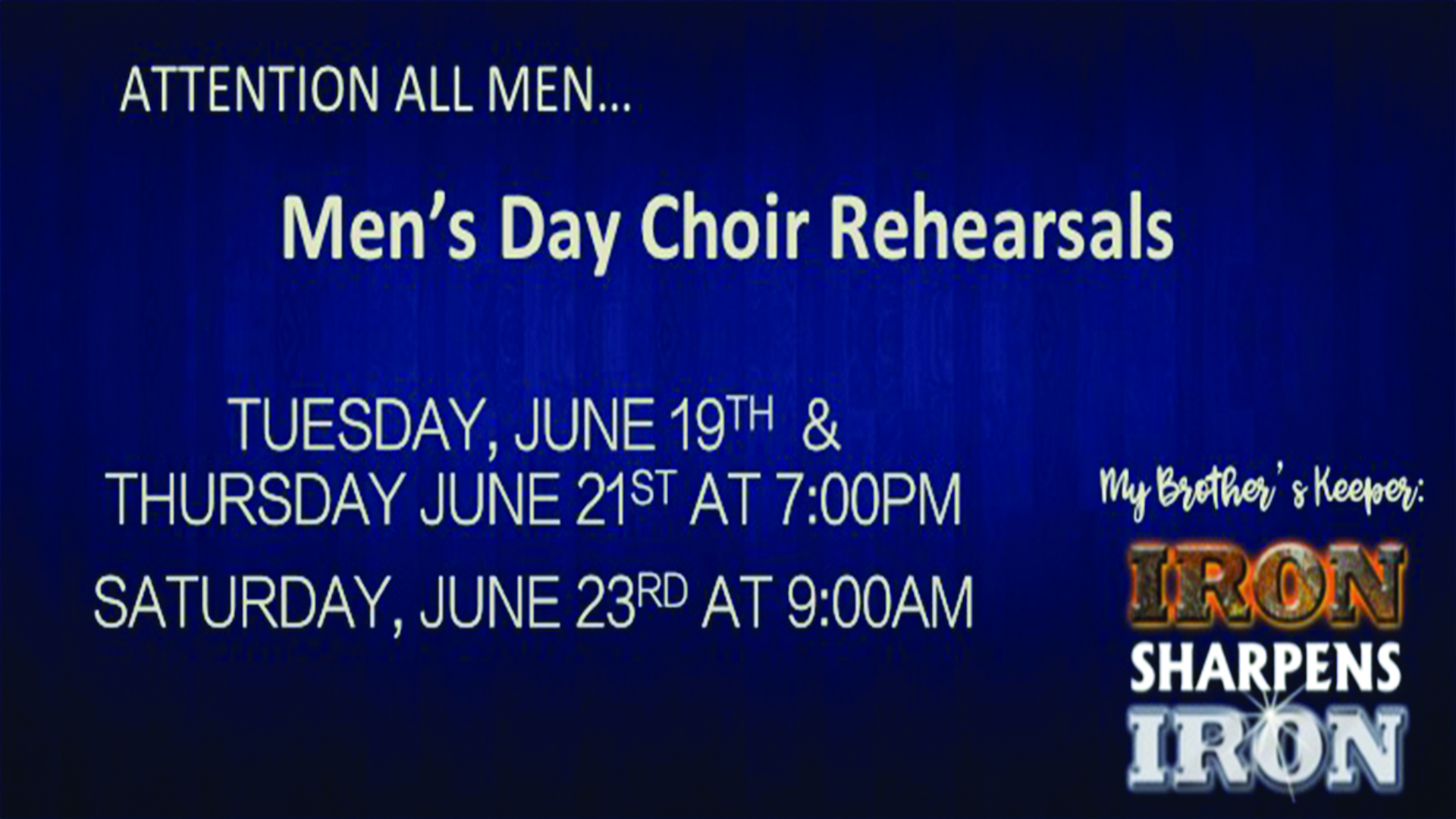 Men's Day Choir Rehearsals