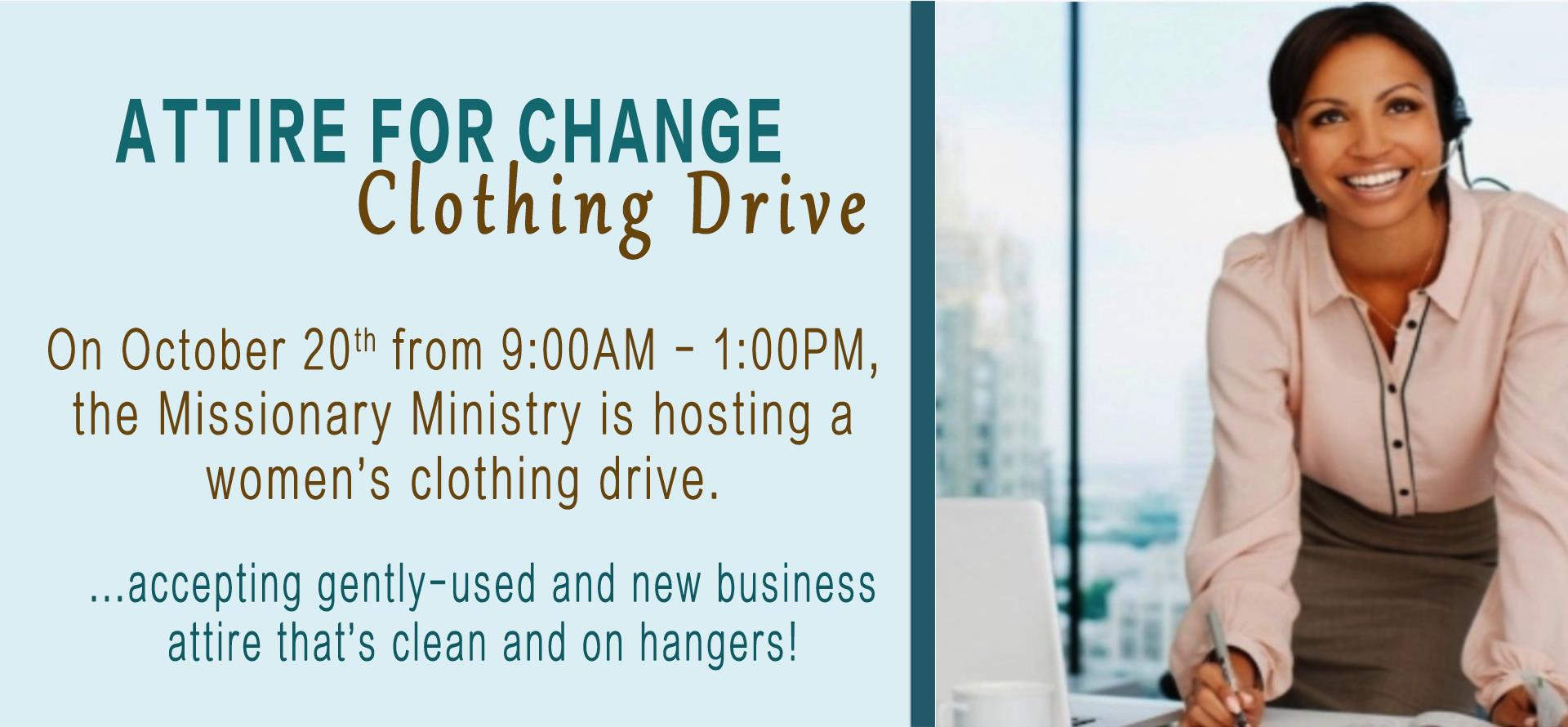 Attire for Change - Women's Clothing Drive