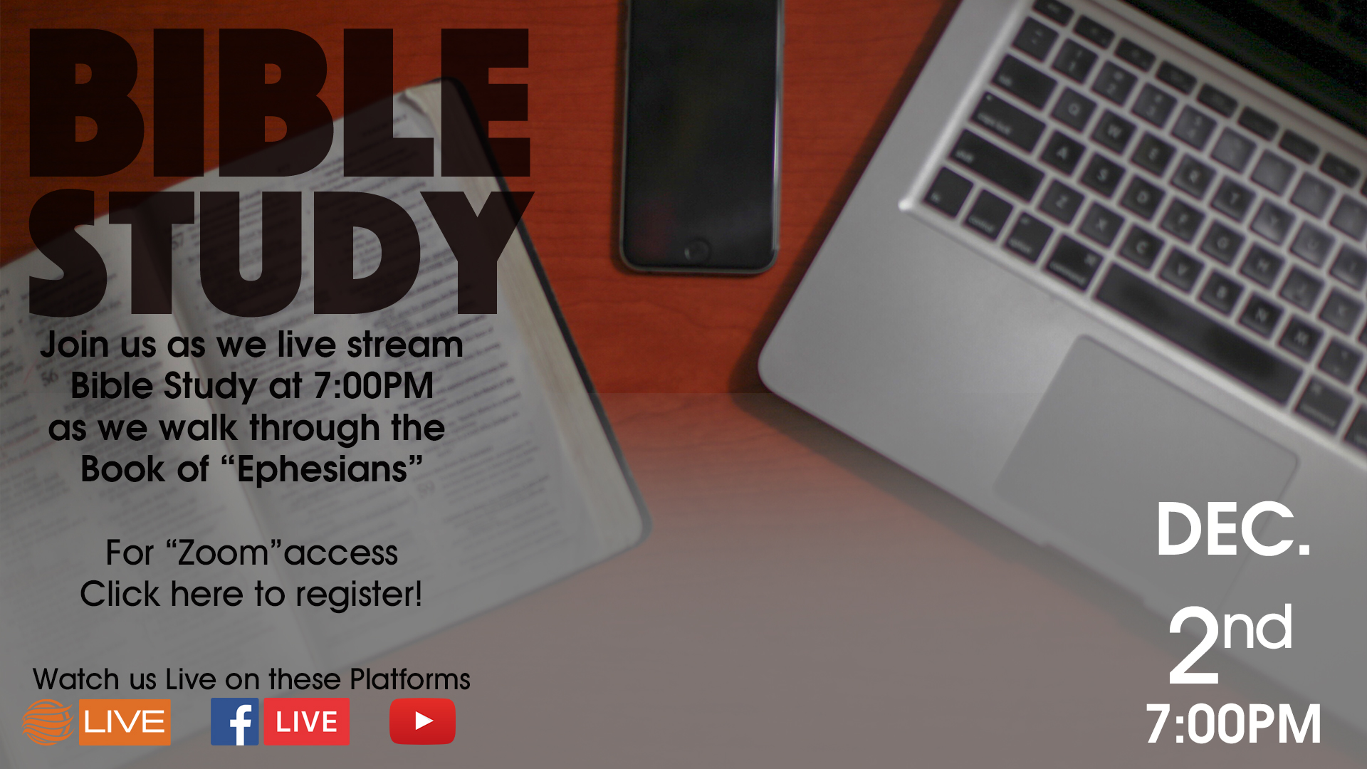 Evening Bible Study - Virtual study of Ephesians