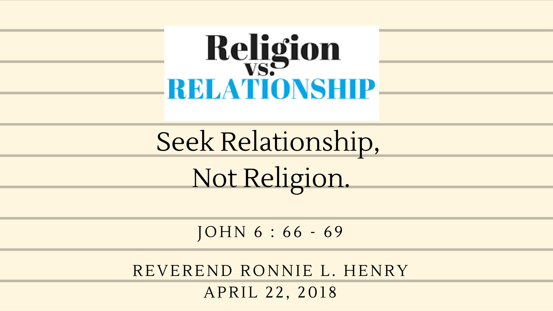 Seek Relationship, Not Religion