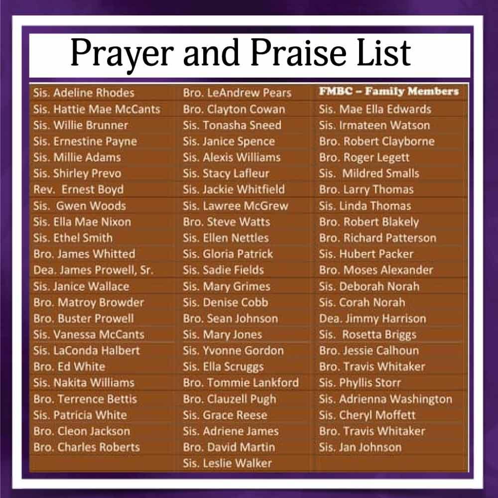 FMBC Prayer and Praise List