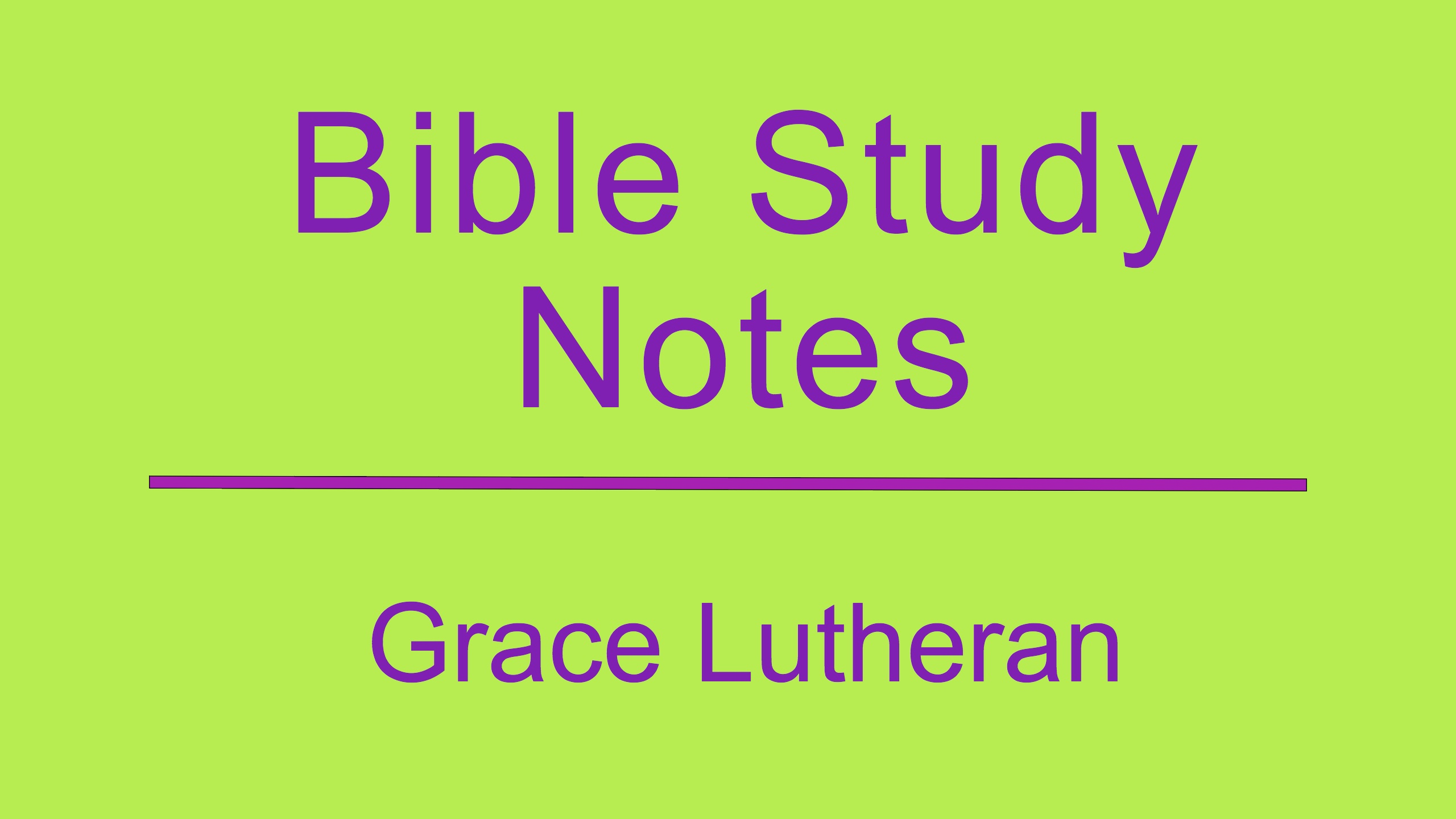 Bible Study Notes