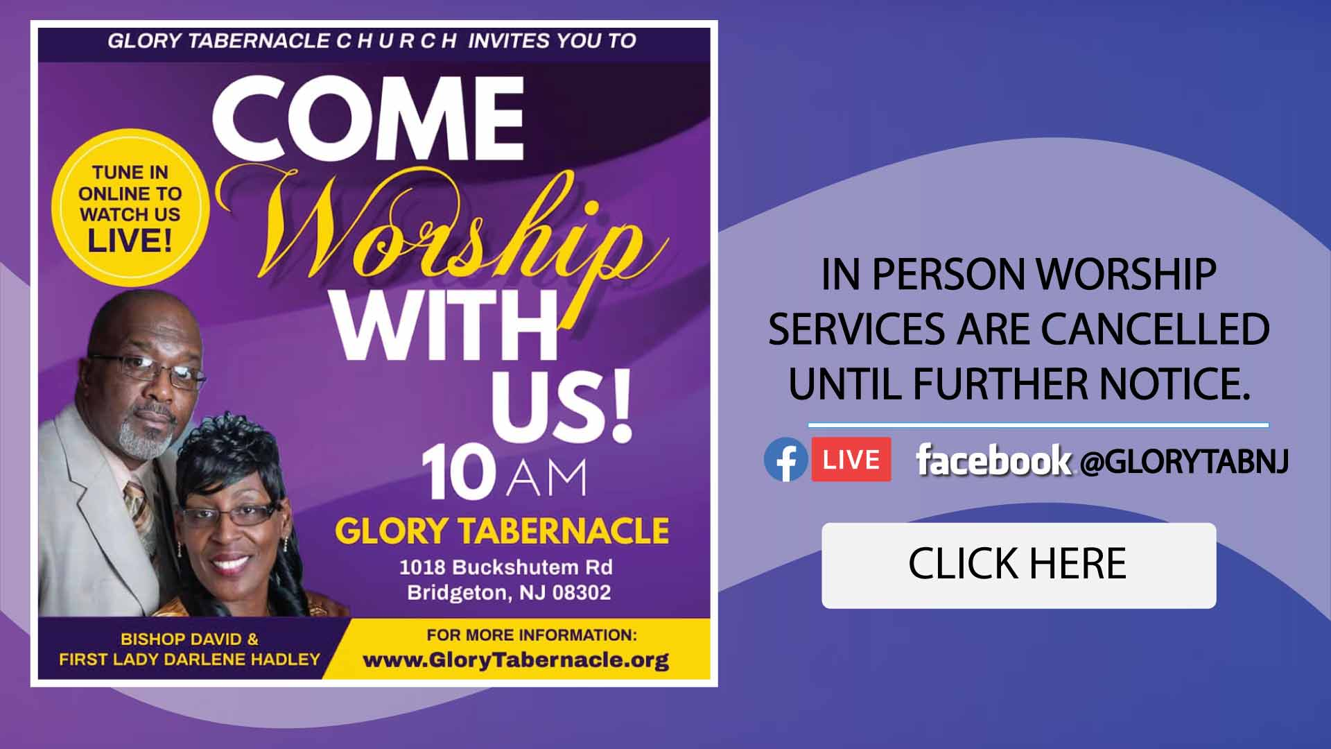 GT Come Worship Service Cancelled