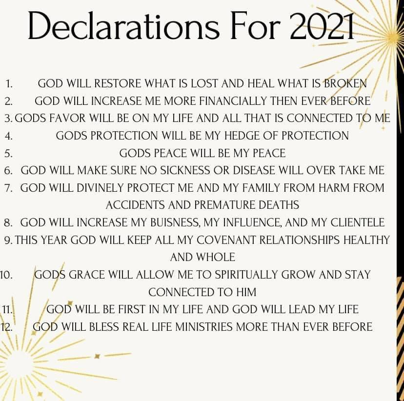 Declarations For 2021
