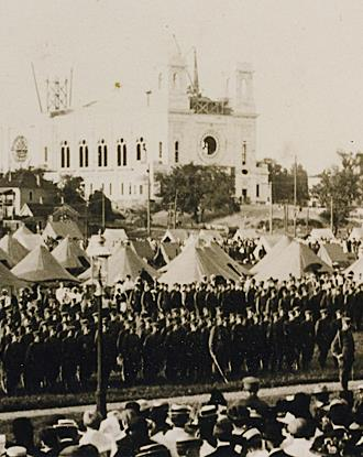 Parade Grounds 1911-Troops camped on the parade grounds to the west.