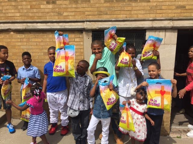 Distribution of Easter Bags to Roseland