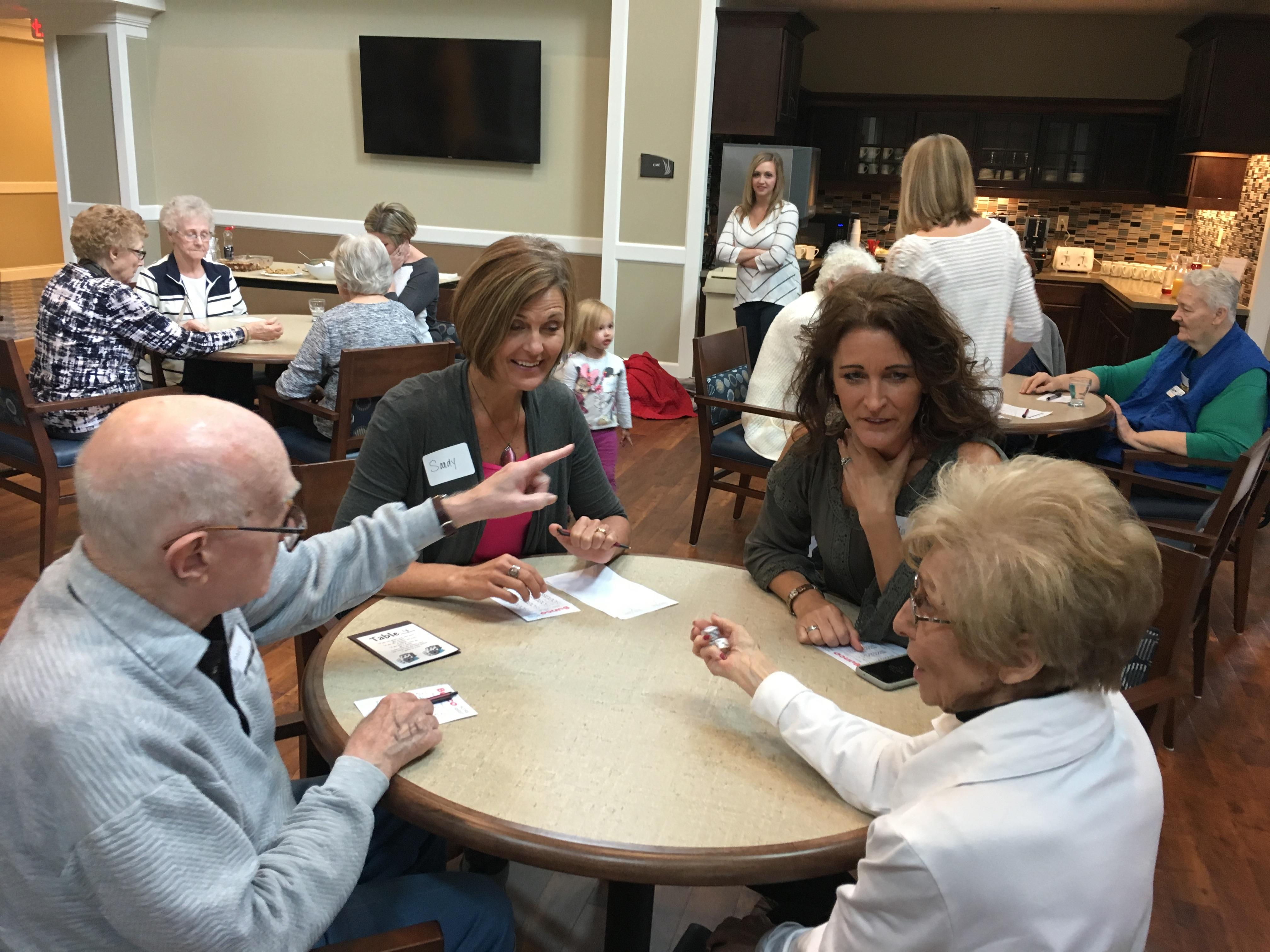 Playing Bunco with our Park Place Friends