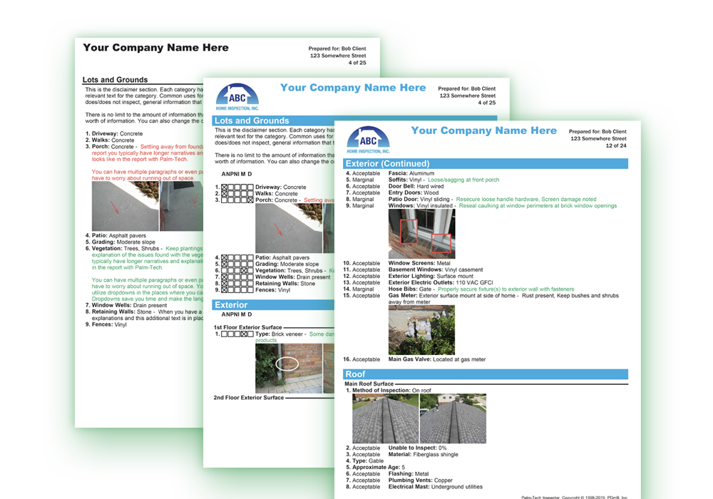 sample home inspection report thumbnails