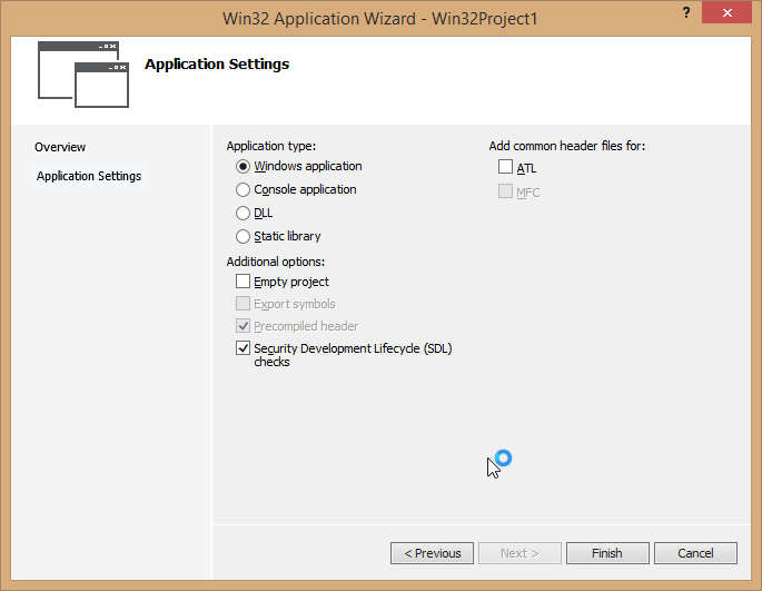 Win32 application wizard.